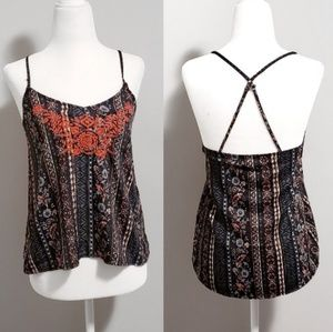 Hollister Boho Embroidered Criss Cross Back Top